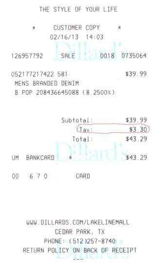 Dillards receipt_sales tax