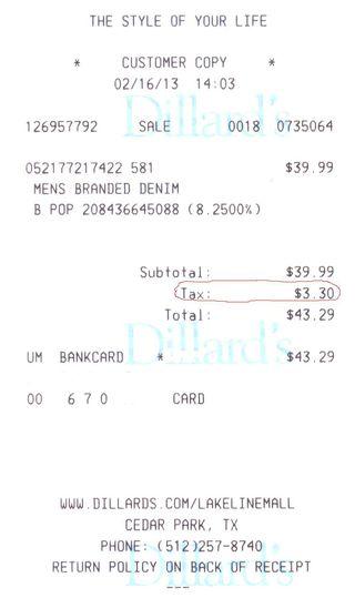 Dillards receipt_sales tax
