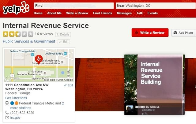 IRS Yelp rating