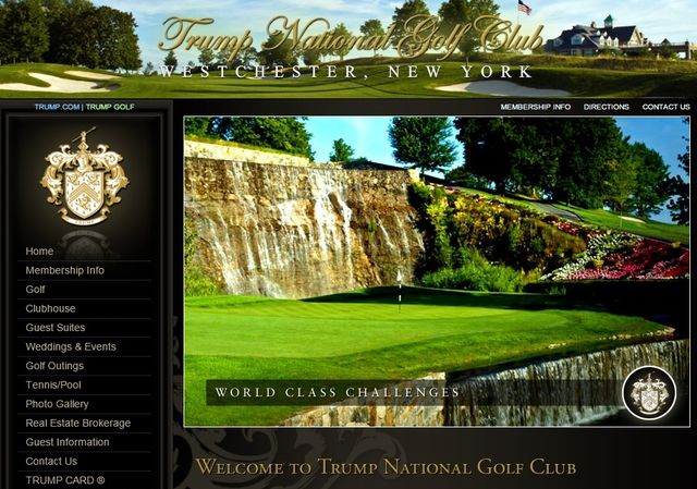 Trump National Golf Club Westchester NY website screen shot