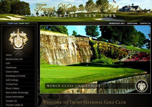 Trump National Golf Club Westchester NY website screen shot