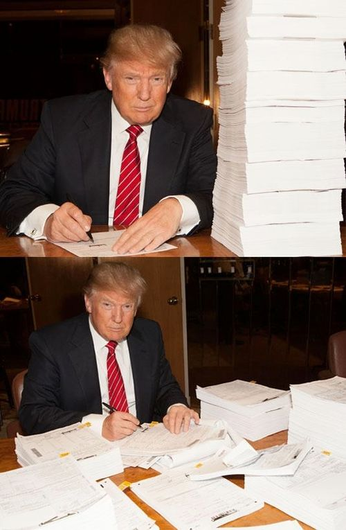 Donald Trump signing his 2014 tax return