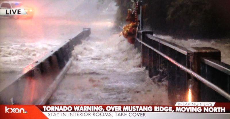 Halloween Eve 2015 flooding Cypress Creek in Wimberley rising over bridge2