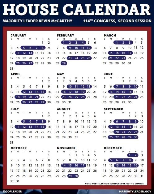 House calendar 2016_111 days