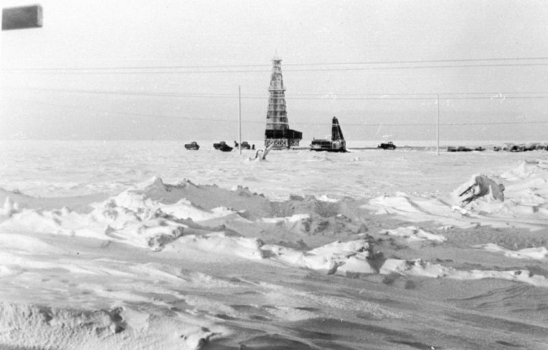 Oil drilling in Alaska circa 1940-1970