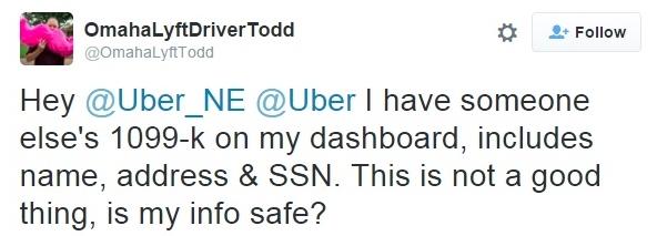 Twitter concern about Uber 1099 error