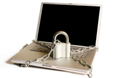 Secure padlocked laptop