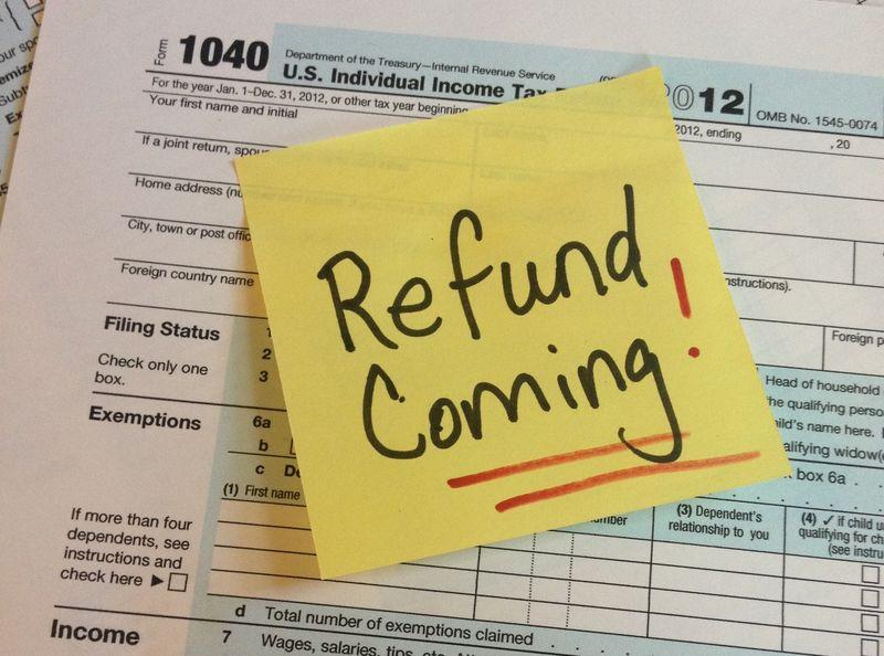 Tax return 2012 refund Post-It
