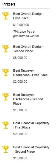 IRS Tax Design Challenge 2016 cash prize awards
