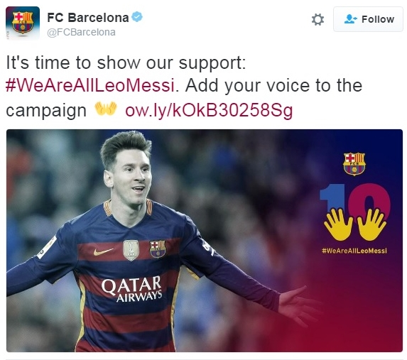 FC Barcelona tweet following Messi tax conviction