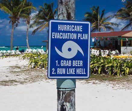 Hurricane evacuation sign advice