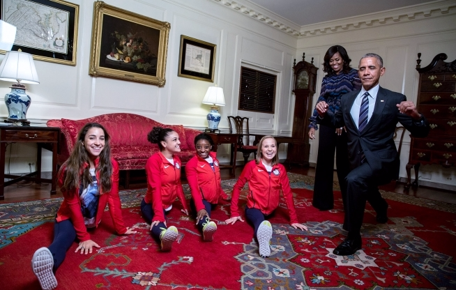 US Women Gymnastics Team at White House with POTUS-FLOTUS 092916