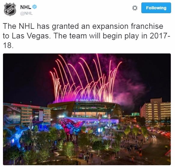 NHL announces Las Vegas expansion on Twitter