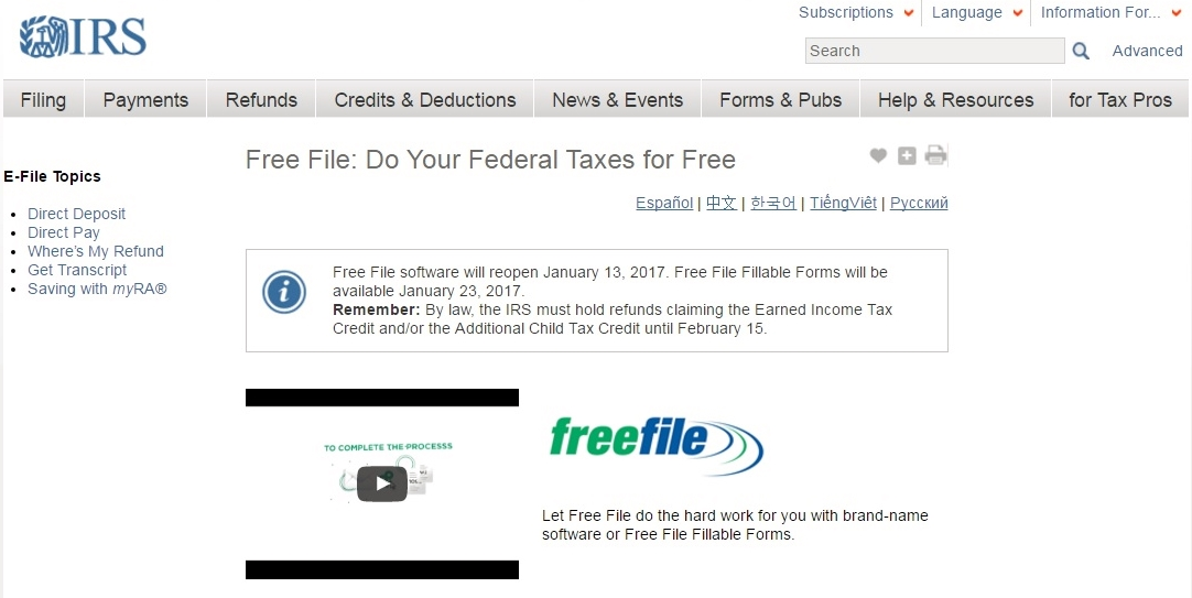 Free File 2017 opens for lucky filers on Friday, Jan  13 - Don't