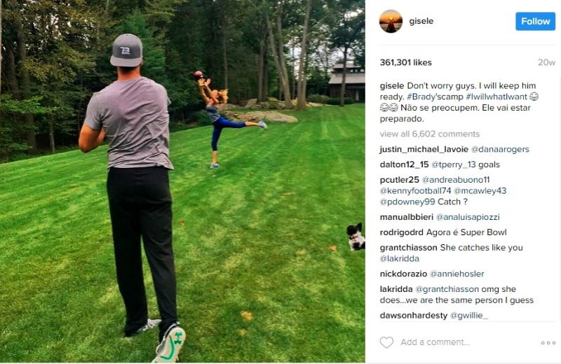 Tom Brady tossing football to wife Gisele Bundchen_Instagram