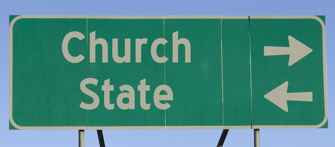 Church state road sign