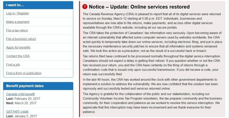 Canada Revenue Agency notice that online service resumes 031217