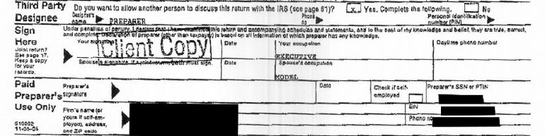 Client Copy notation on DJTrump 2005 tax return