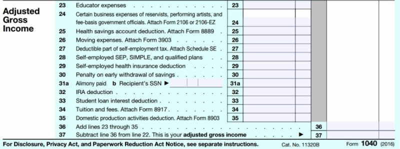 Form 1040 above the line deductions 2016 tax year