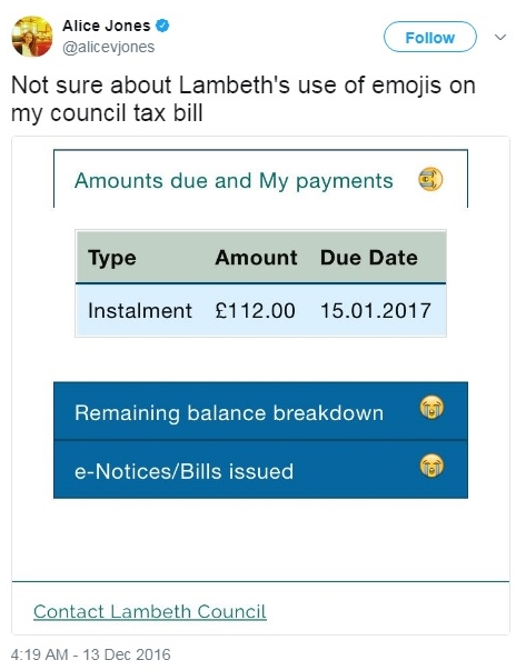 Lambeth council tax bill with crying emoji_Alice Jones via Twitter