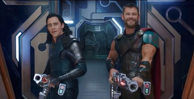 Tom Hiddleston and Chris Hemsworth_Thor-Ragnarok_Marvel Studios YouTube trailer screen shot