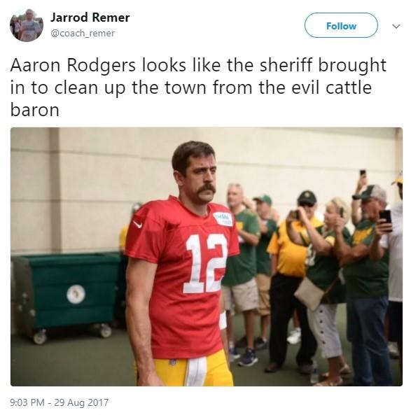 Aaron Rodgers 2017 NFL offseason mustache_Jarrod Remer via Twitter