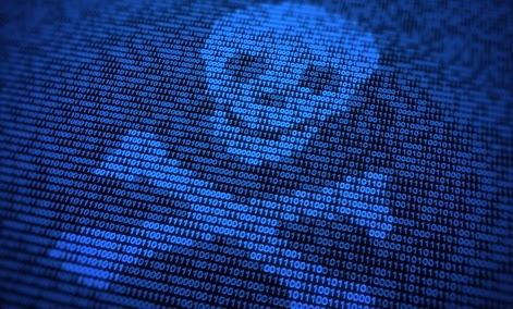 Digital doom skull crossbones computer screen