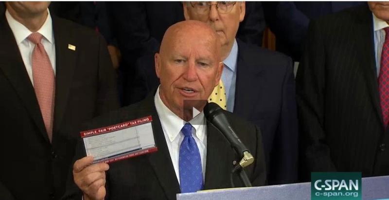 GOP tax reform framework 092717-Brady tax postcard_C-SPAN screenshot