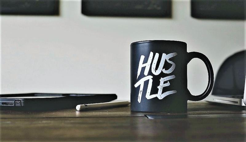Side hustle coffee mug laptop