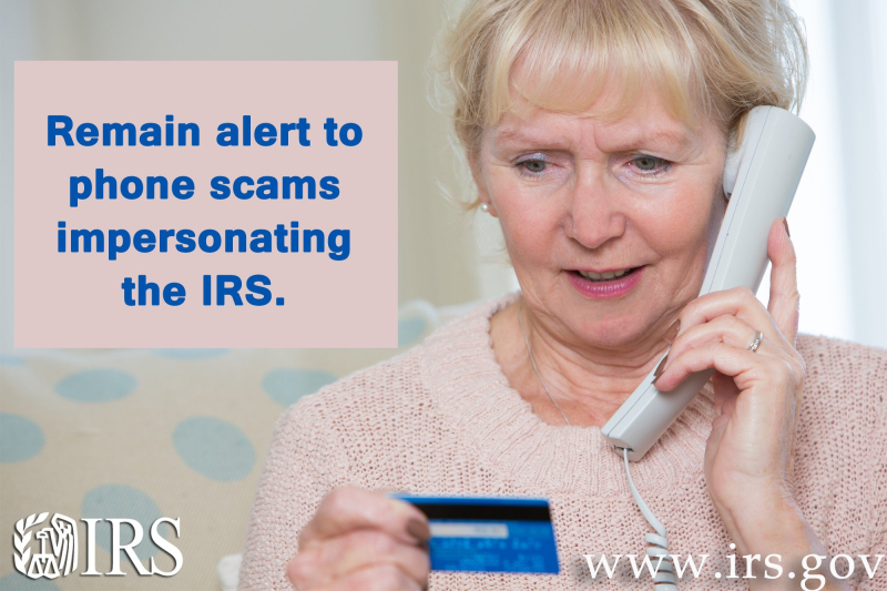Older person falling victim to tax phone scam_IRS