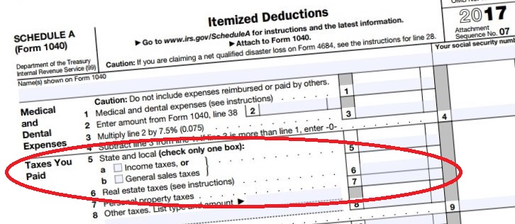 Schedule A 2017 tax year SALT deductions-2