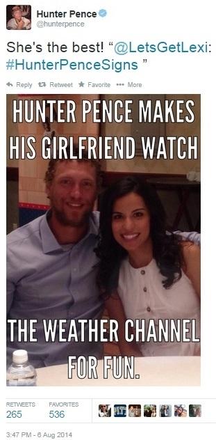 Hunter Pence girlfriend sign
