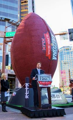 Giant Super Bowl football in downtown Phoenix_AZCentral