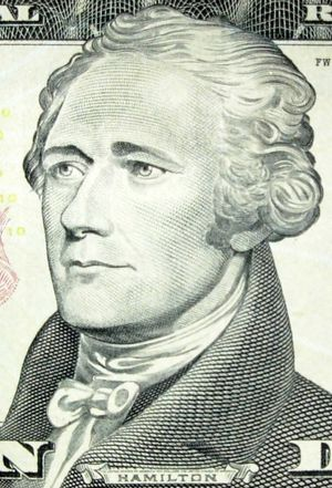 Alexander Hamilton image on 10 dollar bill