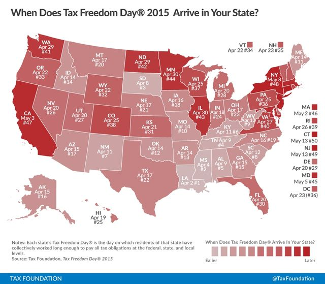 Map of Tax Freedom Day by State 2015 via the Tax Foundation
