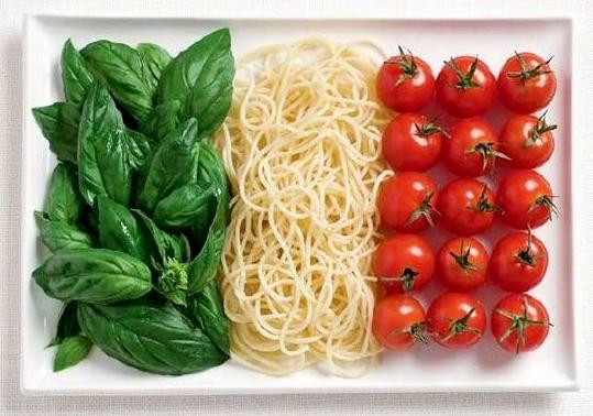 Italy food flag basil spaghetti tomatoes