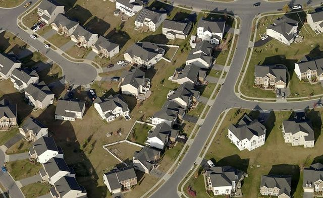 An aerial view of a neigbhorhood captured by Pictometry