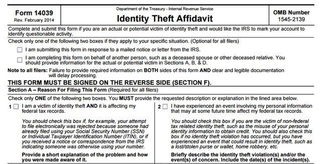 Form 14039 IRS Identity Theft Affidavit excerpt