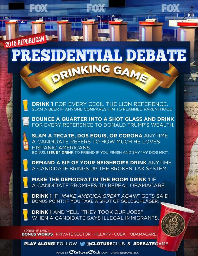 Cloture Club GOP 080615 Debate Drinking Game
