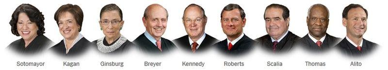 Supreme Court Justices head shots via NYT