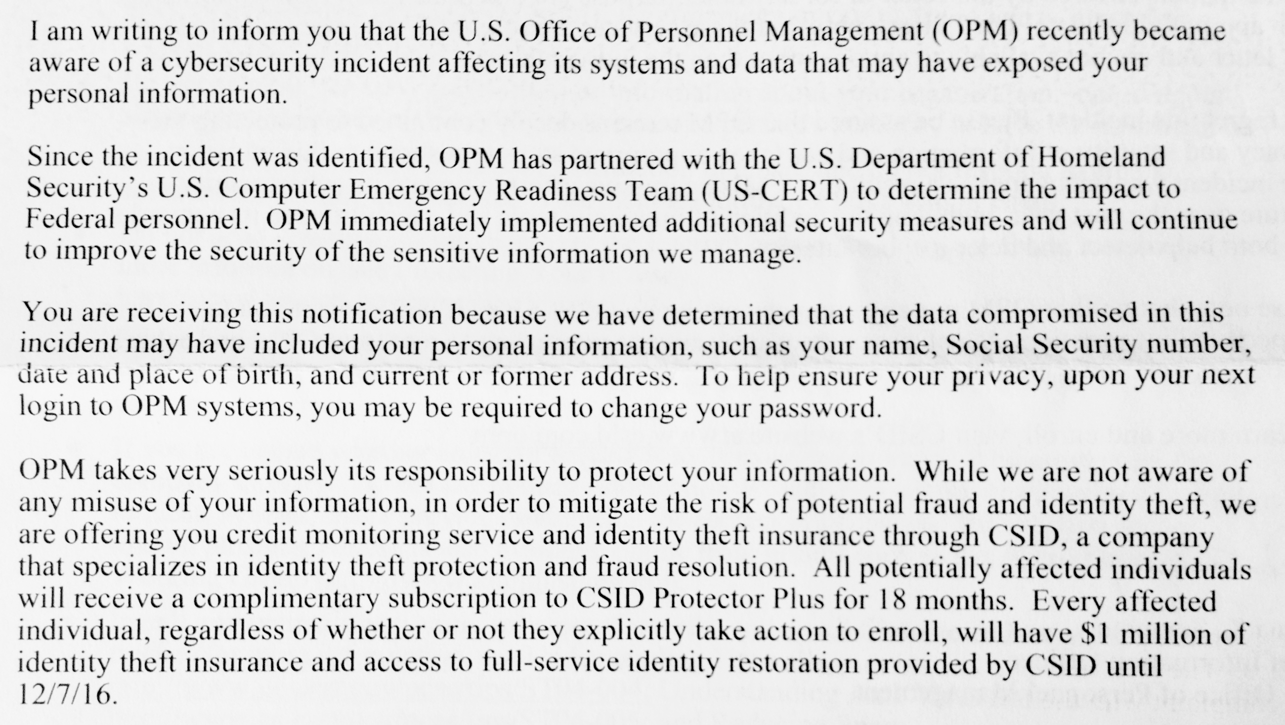 Irs says free identity theft protection services are tax free thats opm hack letter to moi 2015 falaconquin