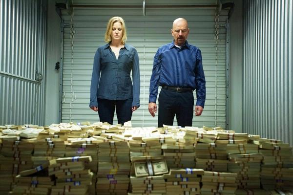 Skyler and Walt White meth money stash Breaking Bad AMC