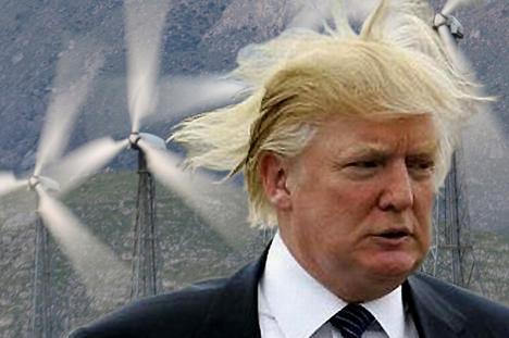 Donald Trump windmills windblown hair