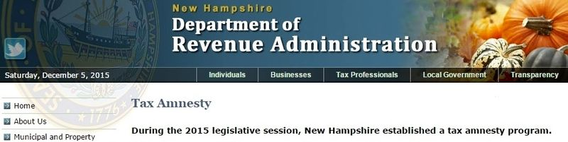 New Hampshire tax amnesty 2015 banner