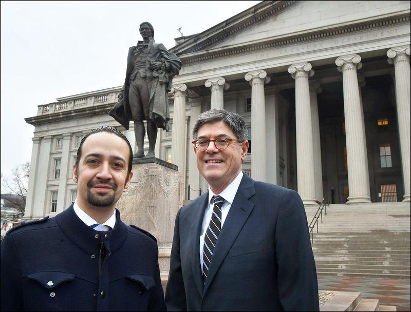 Lin-Manuel Miranda_Jack Lew_Alexander Hamilton statue before Treasury Building WDC 031416