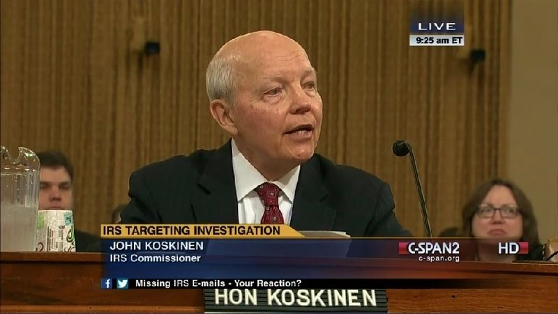 IRS Commissioner John Koskinen Ways and Means testimony on missing emails via C-SPAN2