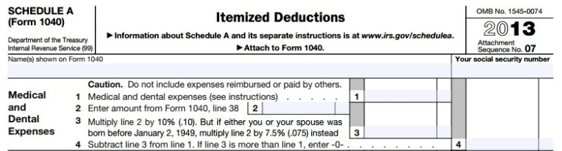 2013 Schedule A medical deductions 7pt5 and 10 percent thresholds
