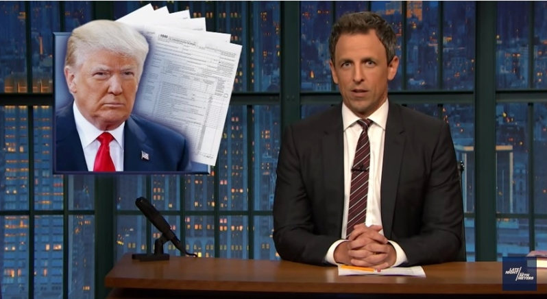 Seth Meyers says Trumps hiding taxes because he is broke Late Night July 29 1016