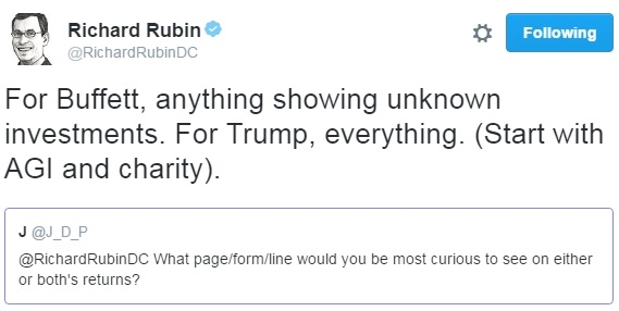Buffett Trump tax return curiosity Twitter