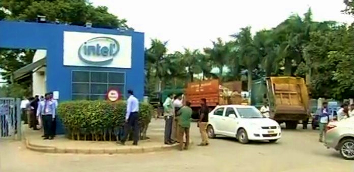 Garbage trucks at Intel India in Bengaluru via PublicTV Twitter feed